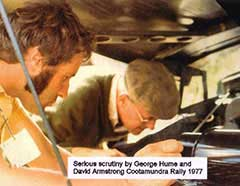 Serious scrutiny by George Hume and David Armstrong - Cootamundra Rally 1977